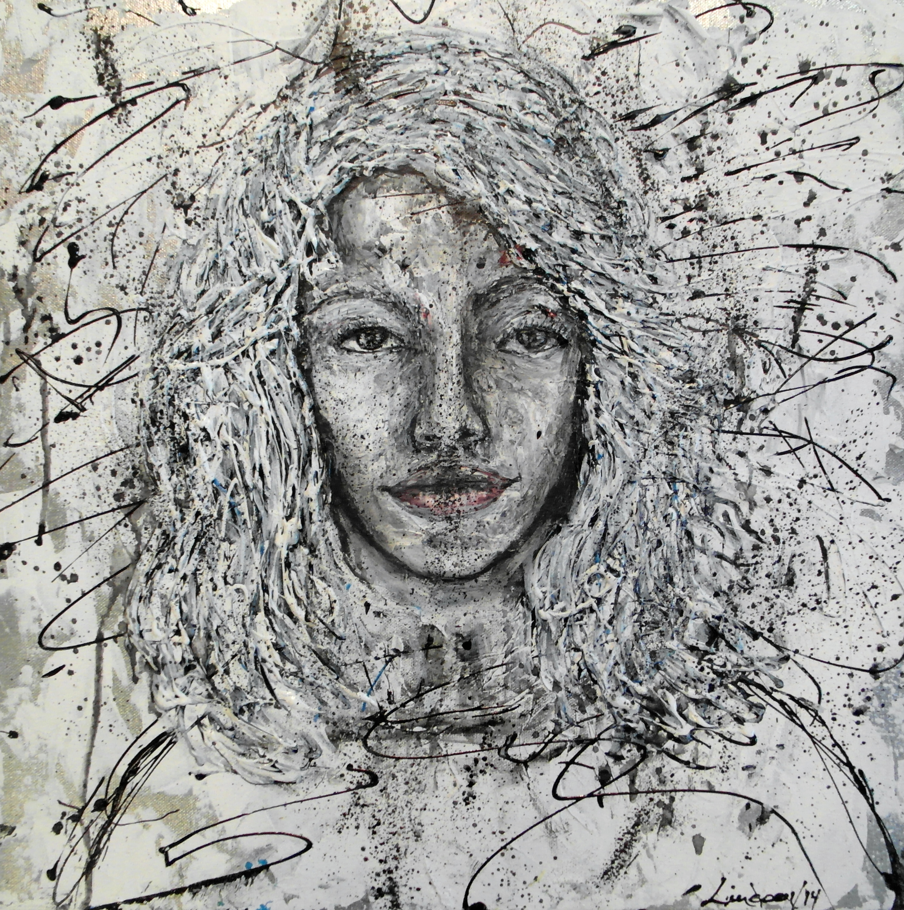scribble art painting portrait black