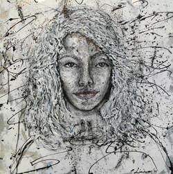 scribble art painting portrait black