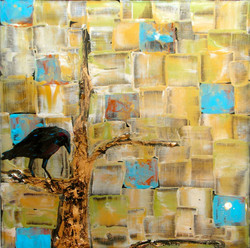 abstract crow painting gold tree