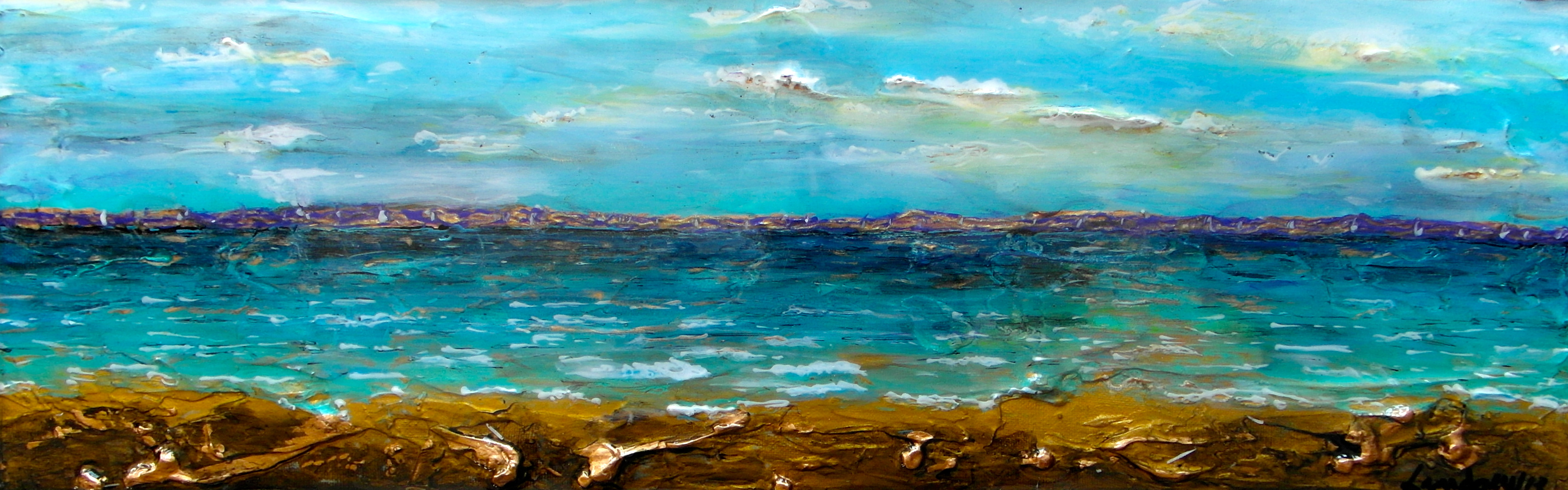 abstract seascape painting beach