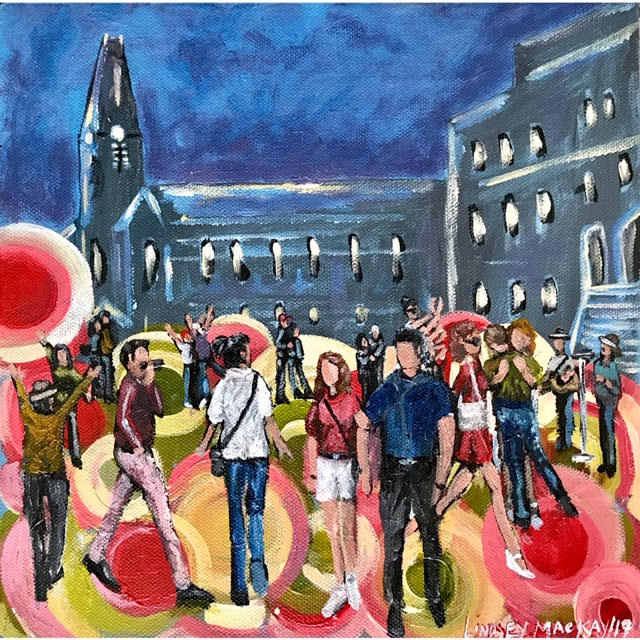 People, city, walking, downtown, acrylic