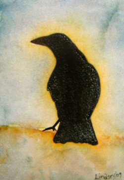 watercolor crow painting; crows