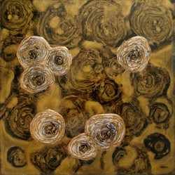 abstract floral painting gold white
