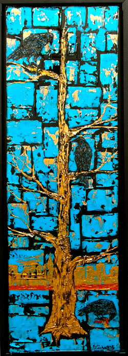 crows gold tree art painting