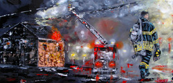 abstract fire truck painting smoke