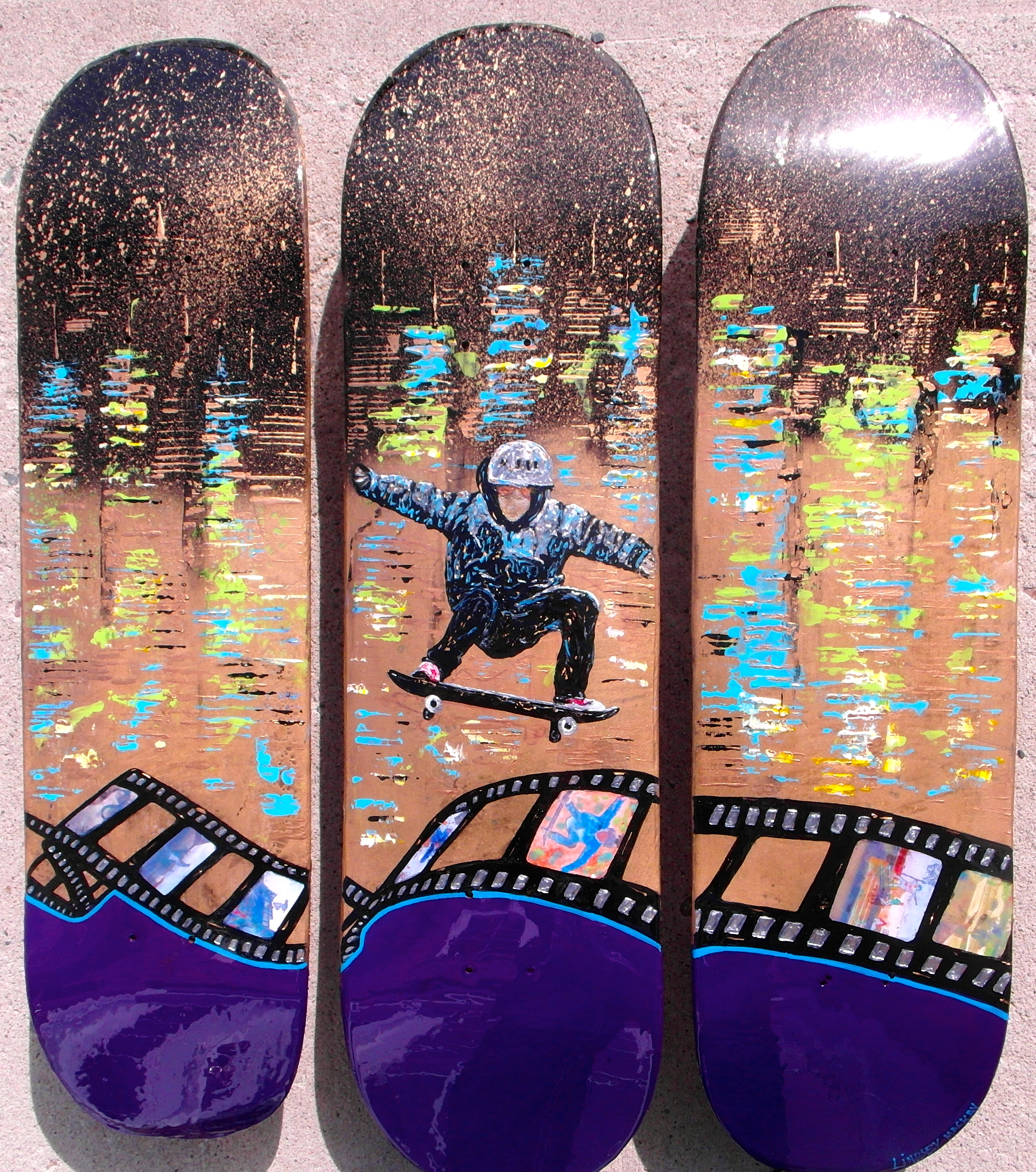 skateboard art painting gold blue