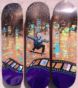 skateboard art painting gold blue