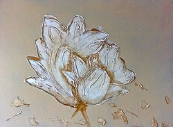 floral textured painting gold flower