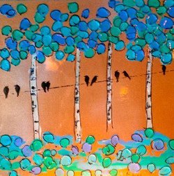 birch trees crows painting art
