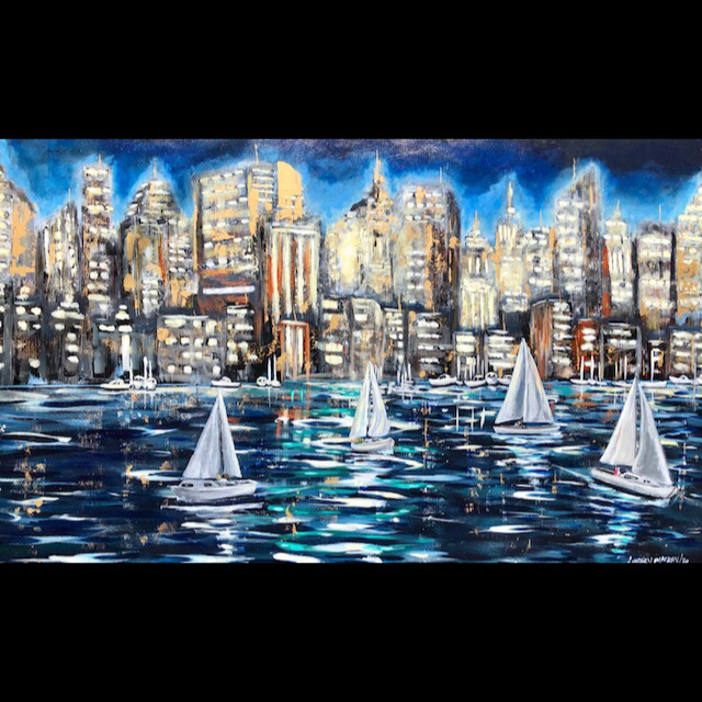 cityscape, seascape, sailboat, painting, water, sailing, acrylic