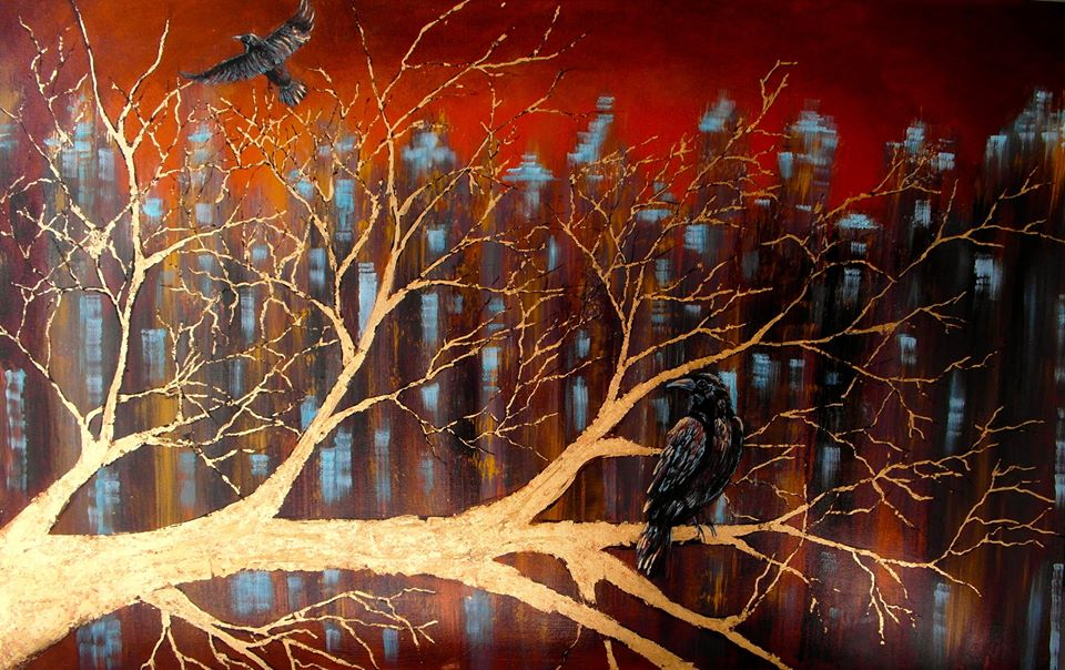 modern cityscape painting crows gold