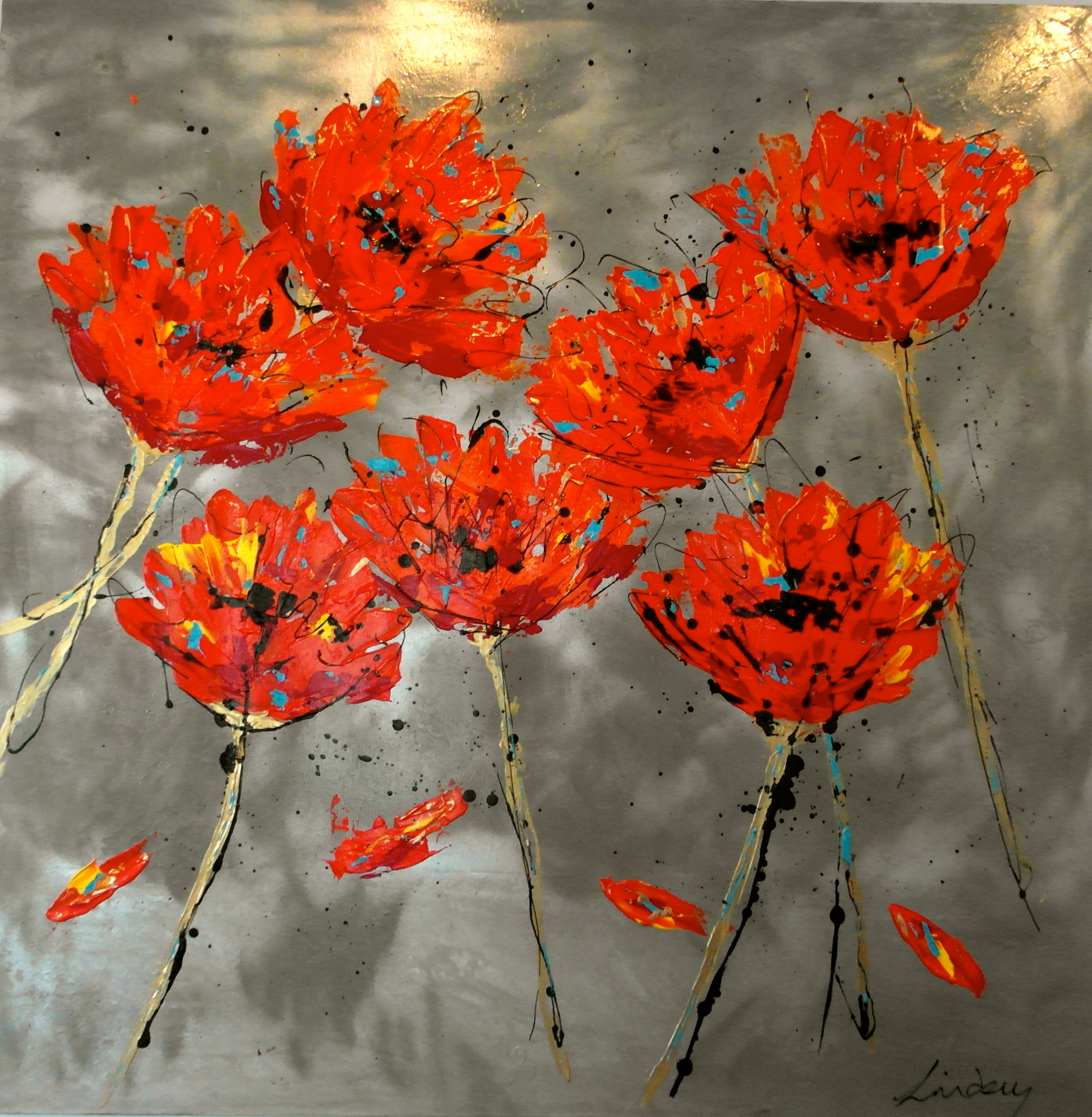 abstract floral painting red poppies