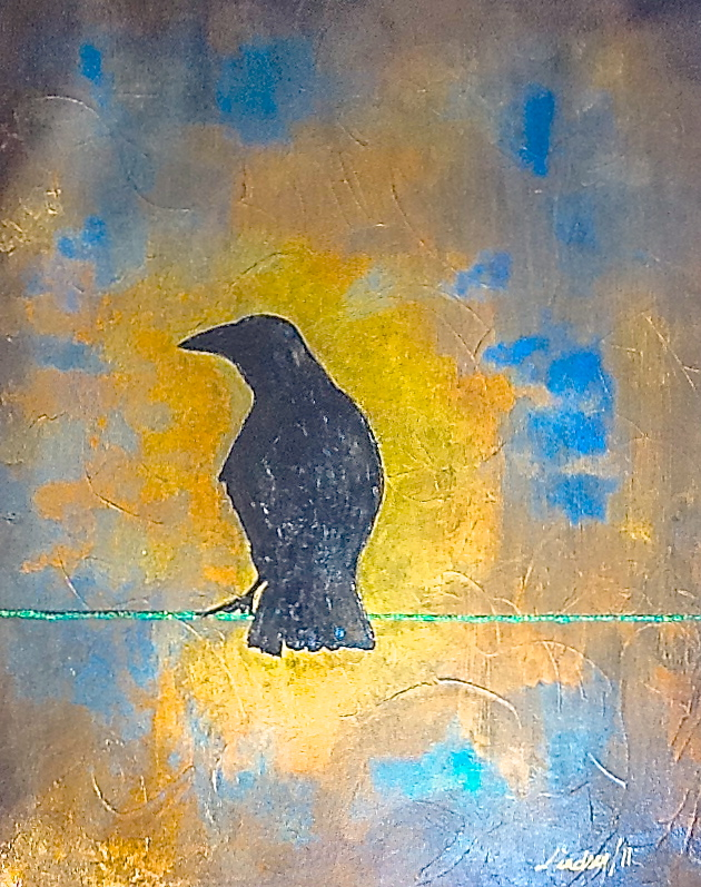 gold abstract painting black crow