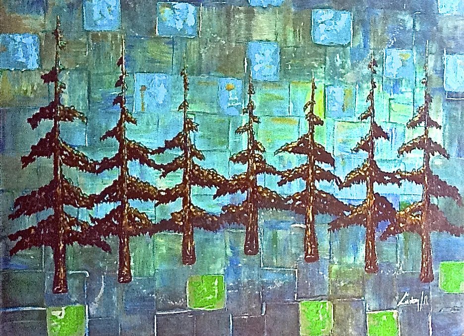 Abstract tree painting turquoise