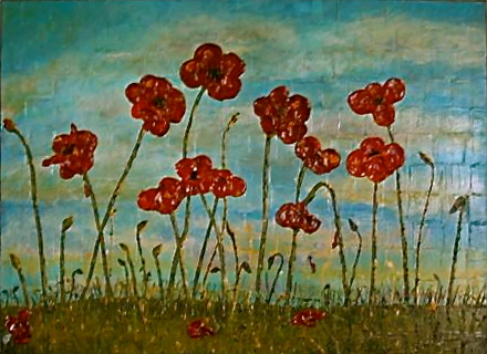 red poppy painting palette knife