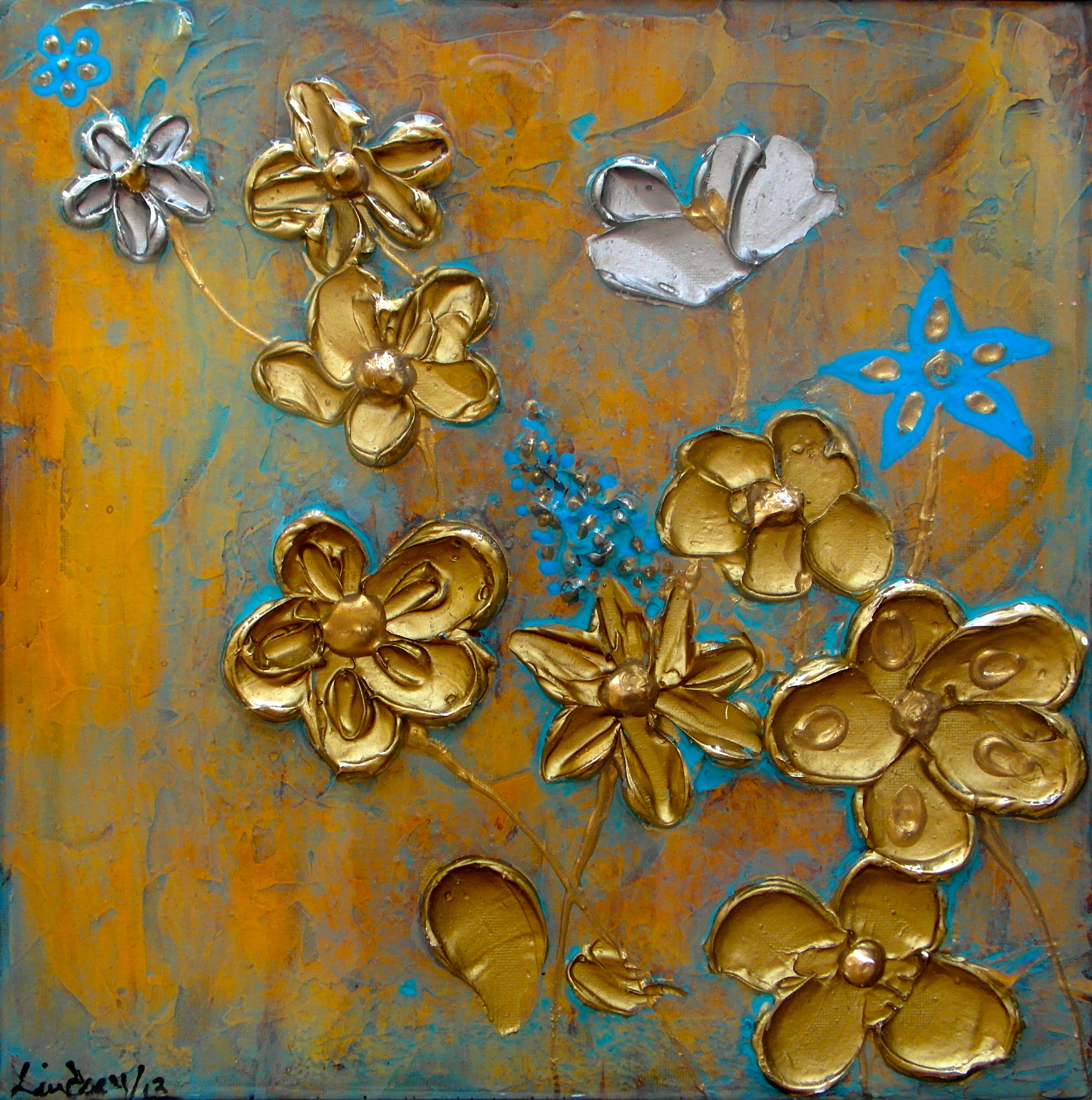 textured floral painting gold blue