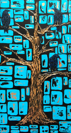 crows gold tree painting texture art