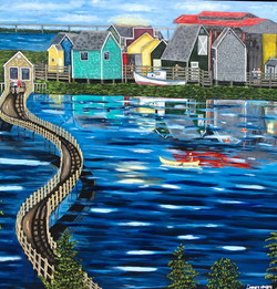 water, sailboat, sun, acrylic, painting