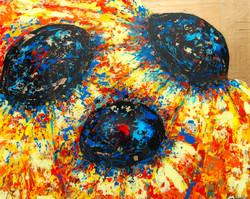 heavy textured sunflower painting
