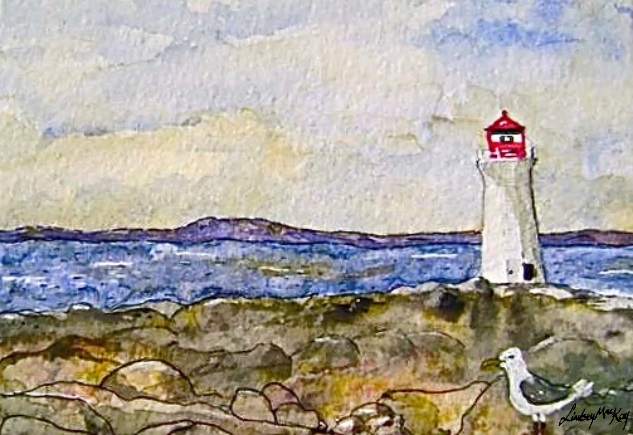watercolor lighthouse painting, sea