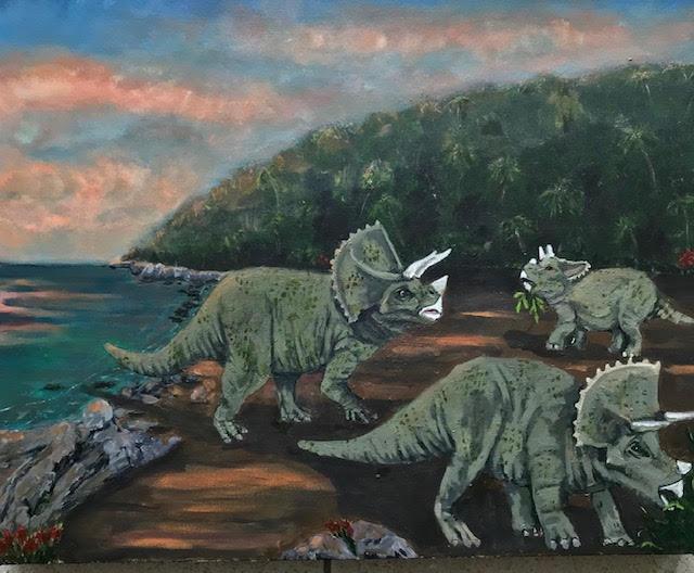 dinosaur, painting, acrylic