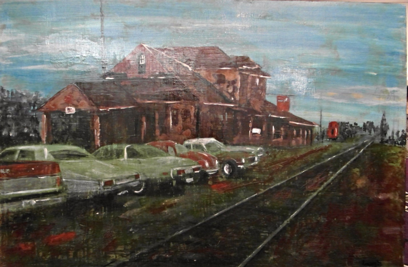 train station painting vintage