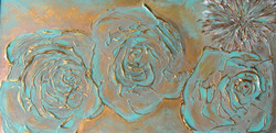textured floral painting blue gold