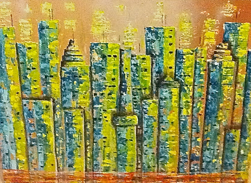 acrylic cityscape painting green