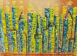 acrylic cityscape painting green