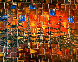 abstract painting trees orange blue