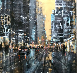 cityscape painting, acrylic painting,