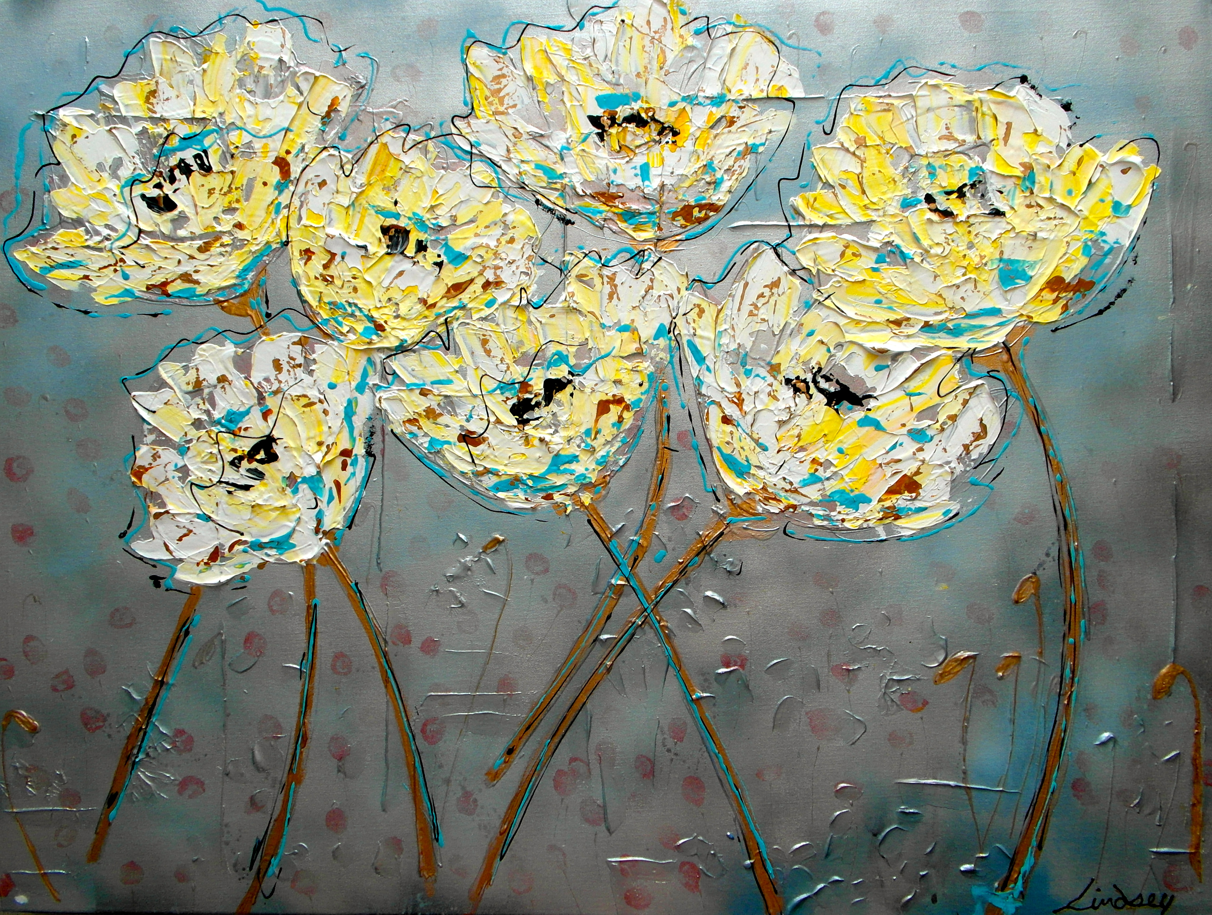abstract floral painting white