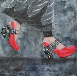 Pink and B&W dot John Fluevog Shoes