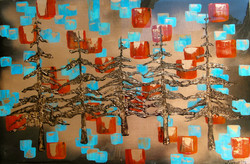 abstract tree gold leaf painting