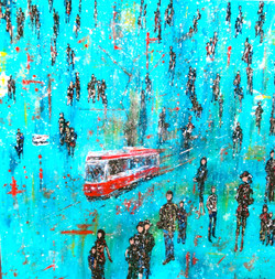 cityscape painting streetcar art
