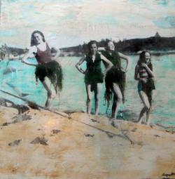 seascape Mixed-Media painting beach