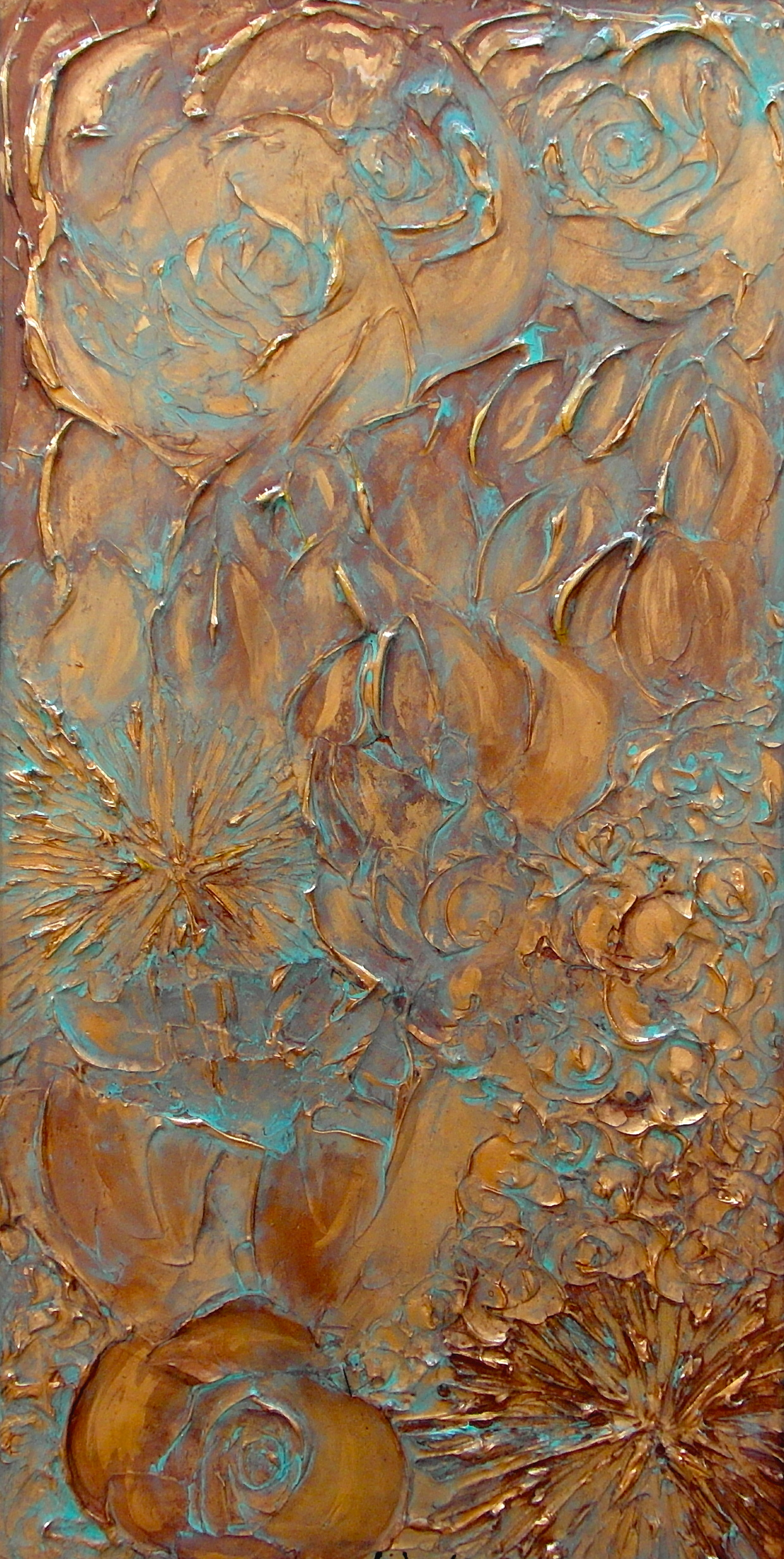 textured floral copper painting