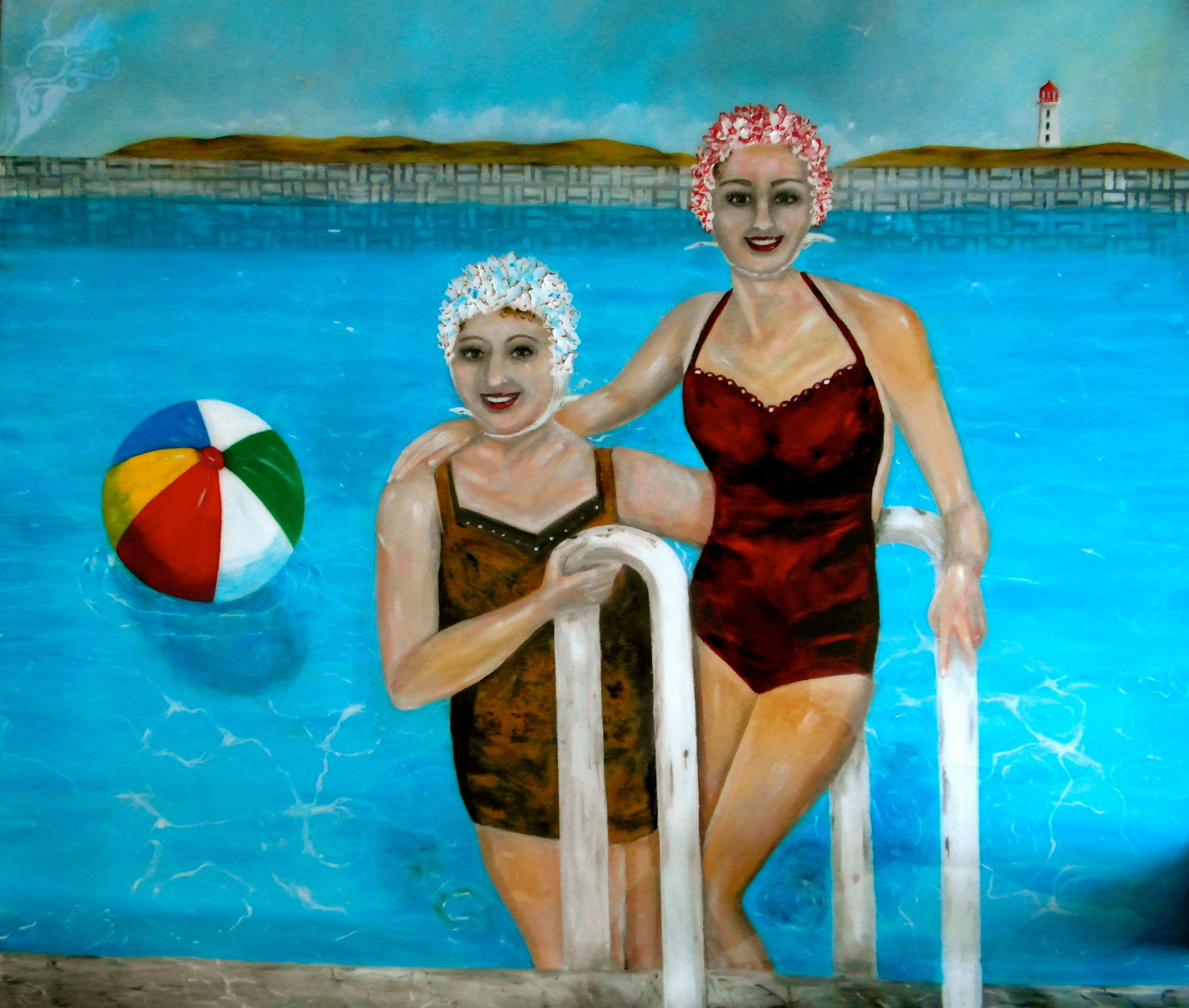 pool painting water bathing caps