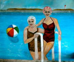 pool painting water bathing caps