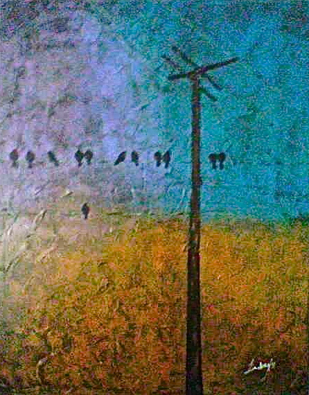 blackbirds on a wire acrylic paint