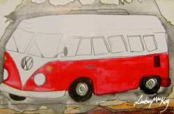 watercolor car painting; car; van