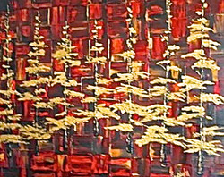 red landscape painting gold leaf
