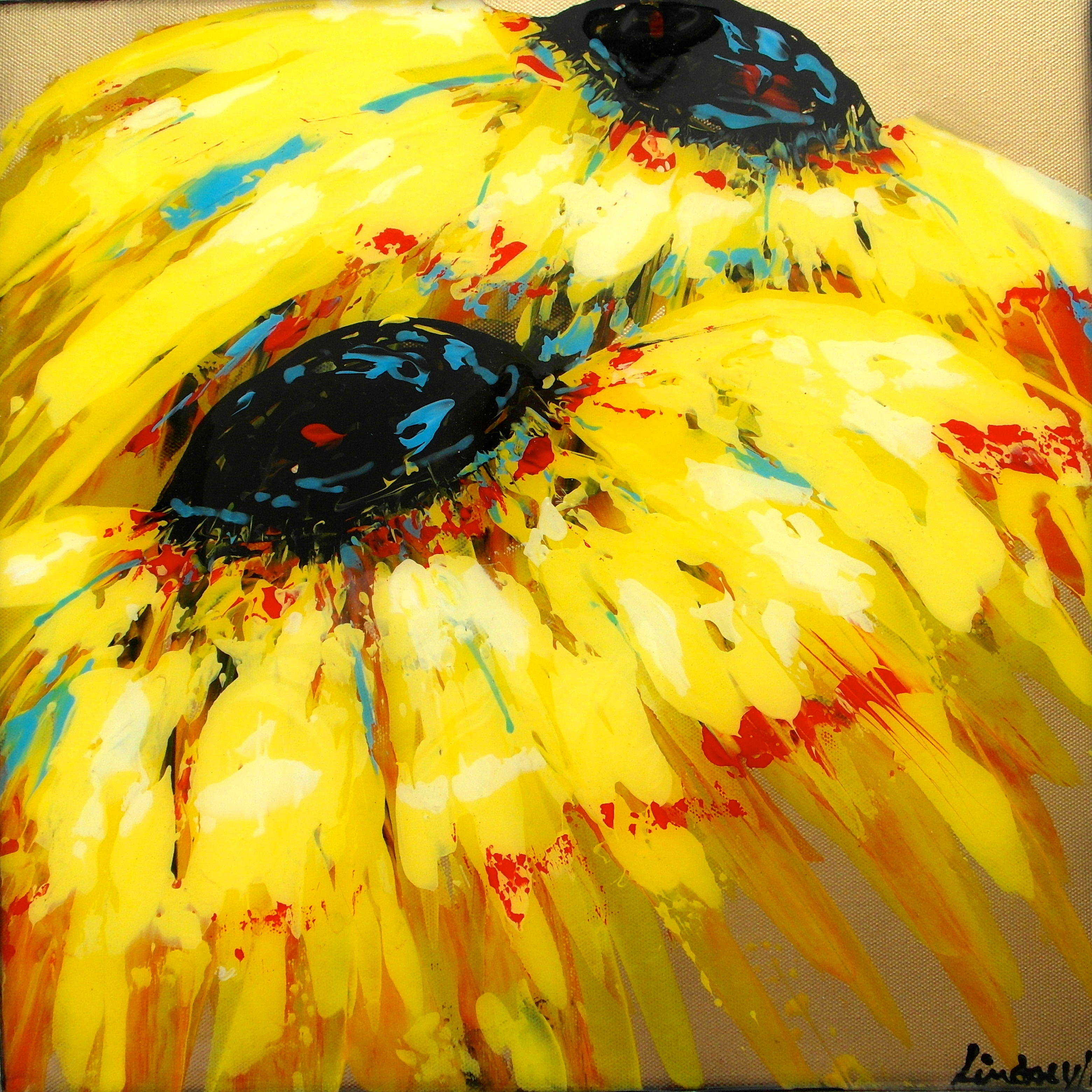 Yellow sunflower painting red gold