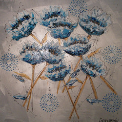 abstract floral painting blue art