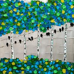 crows birch trees texture art