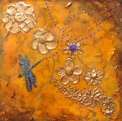 textured painting dragonfly gold
