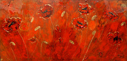 textured poppy painting red gold