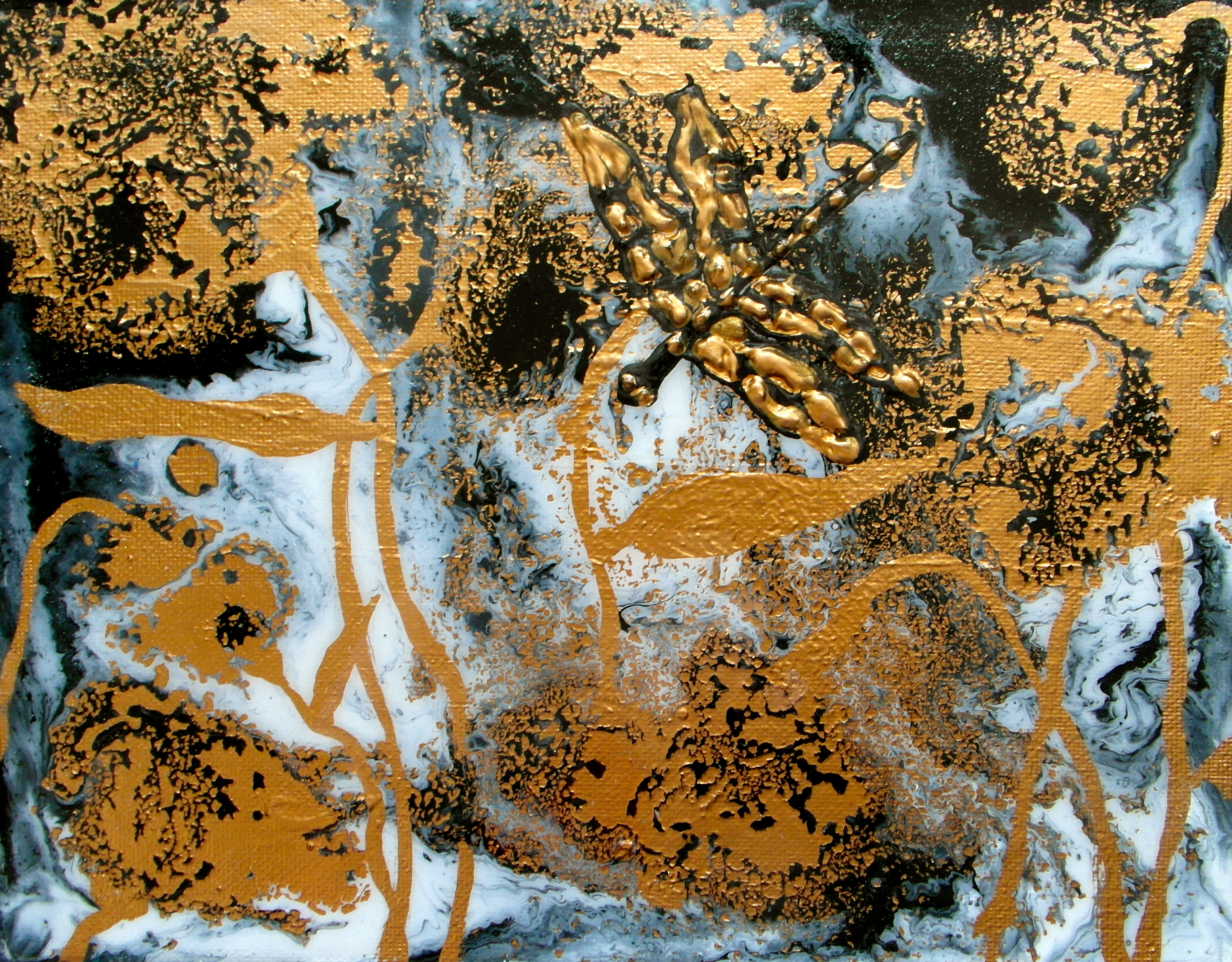 abstract painting gold dragonfly