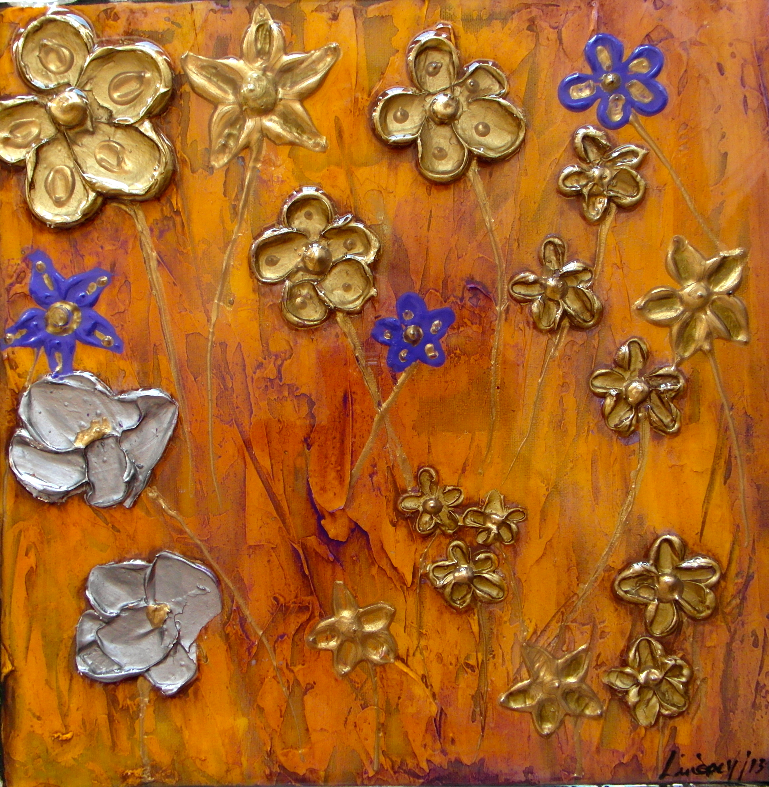flower painting with texture gold