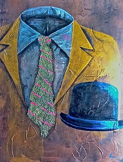 abstract painting mans suit bowler